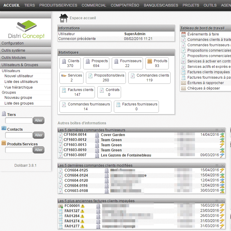 Connexion Prestashop avec l'ERP Dolibarr sur Distri Concept, Agence Impulsion