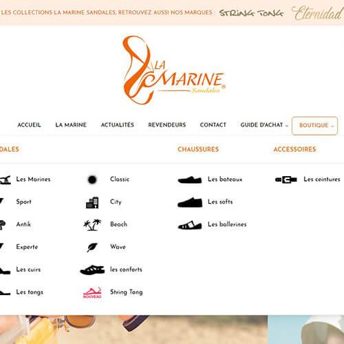 Mega menu sur la Marine sandales, Agence Impulsion